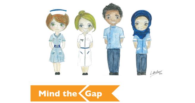 hand drawn image of four nurses