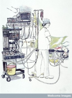 L0028350 An anaesthetist standing, his equipment behind him. Colour l